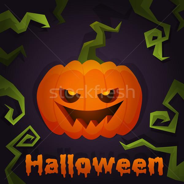 Sütőtök halloween tök ijesztő poszter mosoly arc Stock fotó © Dashikka