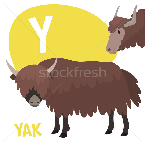 Funny cartoon animals vector alphabet letter set for kids. Y is yak Stock photo © Dashikka