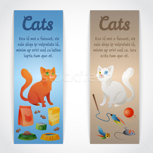 Gato banners diferente papel perro diseno Foto stock © Dashikka