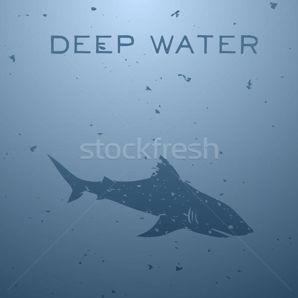 Tiburón Blur naturaleza ola silueta blanco Foto stock © Dashikka