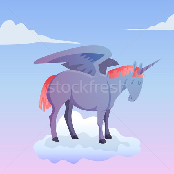 Cartoon magic unicorn pegasus Stock photo © Dashikka