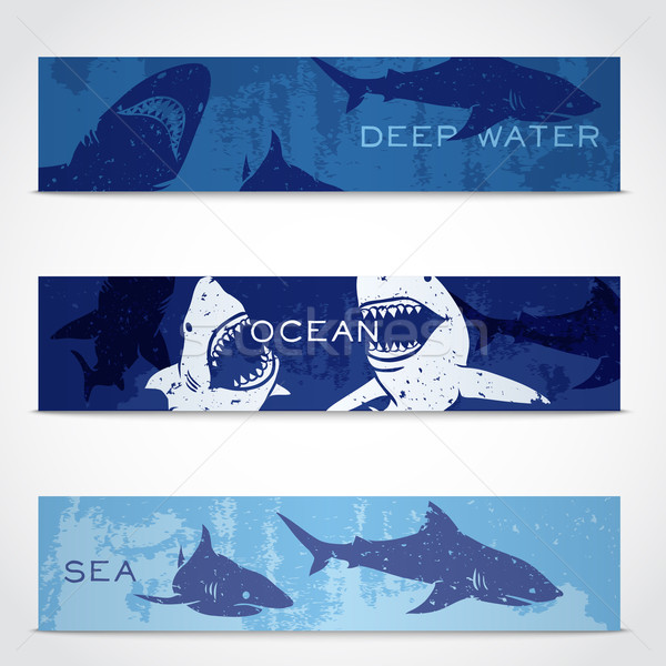 Set of banners with sharks Stock photo © Dashikka