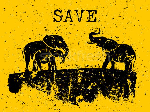 Слоны рисунок Гранж дизайна искусства Африка Сток-фото © Dashikka