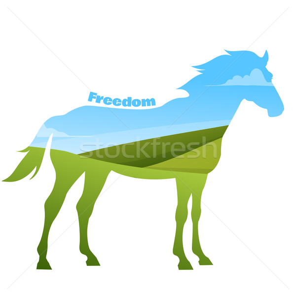 Concept of horse silhouette with text on field background.  Stock photo © Dashikka