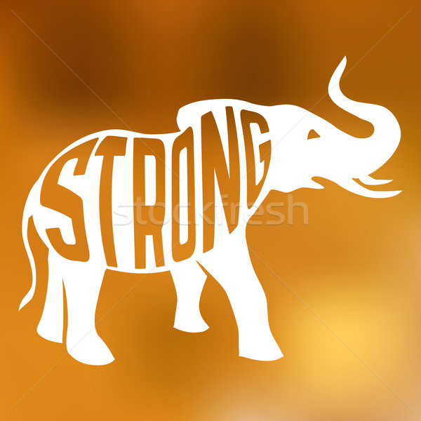 силуэта сильный слон текста внутри Blur Сток-фото © Dashikka