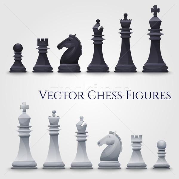 Stockfoto: Vector · schaken · zwart · wit · illustratie · paard · ontwerp