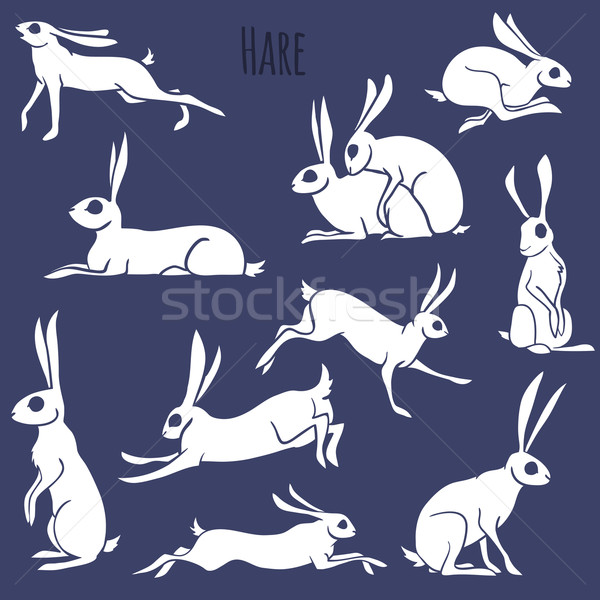 Hare silhouette set isolated on white background Stock photo © Dashikka
