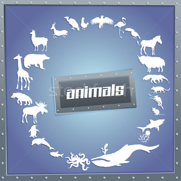 Concept blue poster for boys with animals silhouettes around text inside.  Stock photo © Dashikka