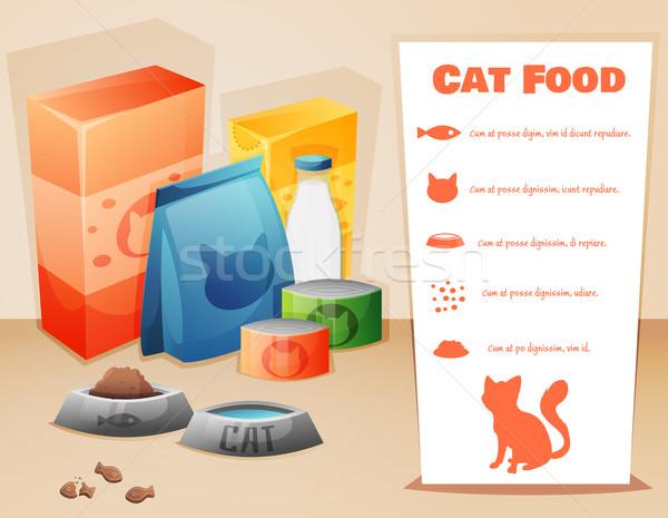 猫 食品 文字 魚 デザイン 背景 ストックフォト © Dashikka