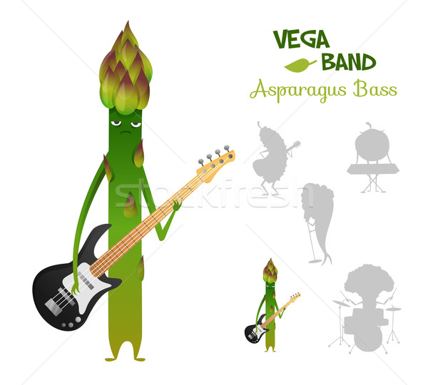Serious asparagus playing bass with band. Vegaband characters concept collection.  Suitable for typo Stock photo © Dashikka