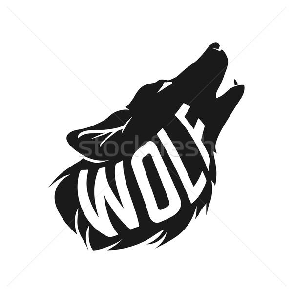 Wolf silhouet tekst binnenkant witte geboren Stockfoto © Dashikka