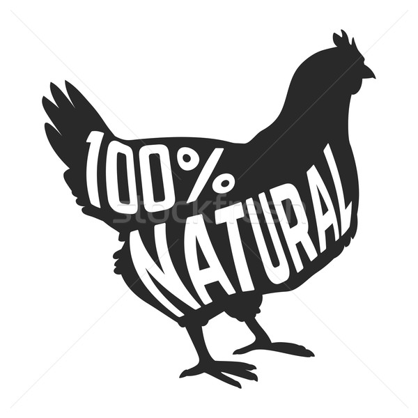 силуэта фермы курица черный текста внутри Сток-фото © Dashikka