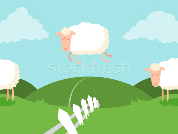 Tileable sheep jumping over the fence. Stock photo © Dashikka