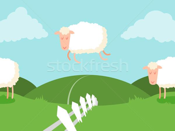 Koyun atlama çit can sonsuz vektör Stok fotoğraf © Dashikka