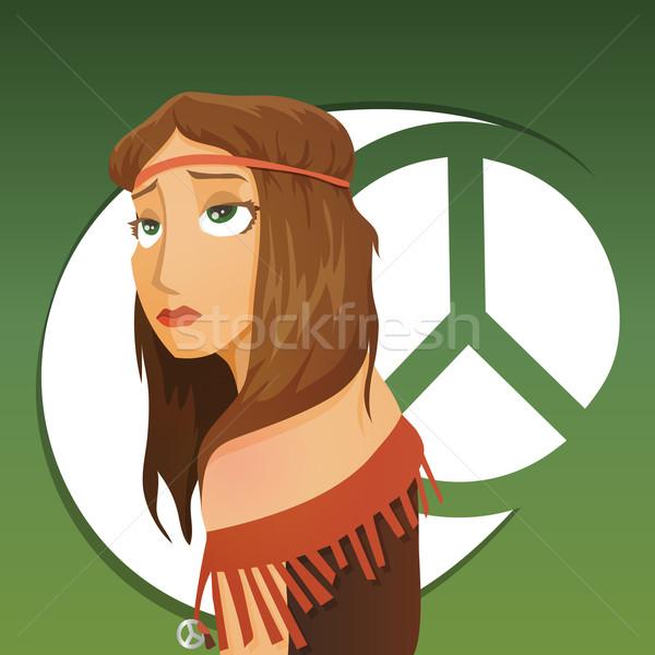 красивая девушка хиппи символ музыку любви моде Сток-фото © Dashikka
