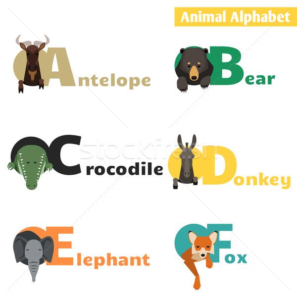 Foto stock: Animales · alfabeto · establecer · cartas · educación · diversión