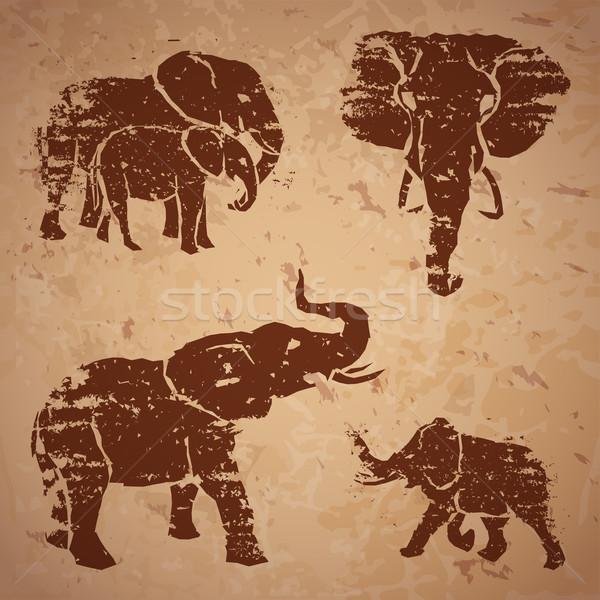 Filler kaya doğa sanat boyama fil Stok fotoğraf © Dashikka