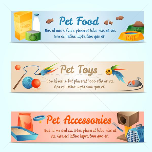 ストックフォト: バナー · 猫 · 食品 · デザイン · ホーム · 青