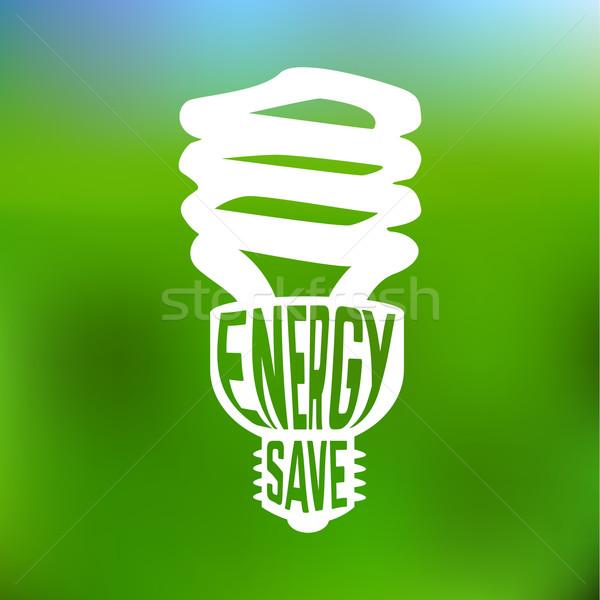Energy save concept poster with lightbulb. Stock photo © Dashikka