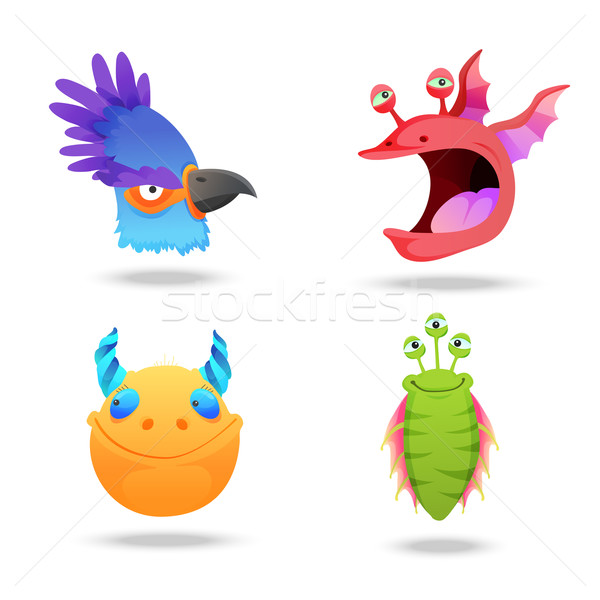 Set of monsters heads, portraits isolated on white background. Big bird, water monster, horned creat Stock photo © Dashikka