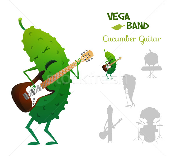 Spectacular energy cucumber playing electric guitar with band. Vegaband characters concept collectio Stock photo © Dashikka