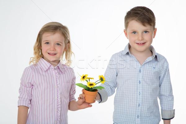 Сток-фото: улыбаясь · пару · дети · белый · два · детей