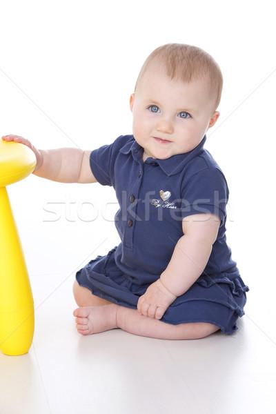 赤ちゃん 座って 少女 手 スツール 黄色 ストックフォト © Dave_pot