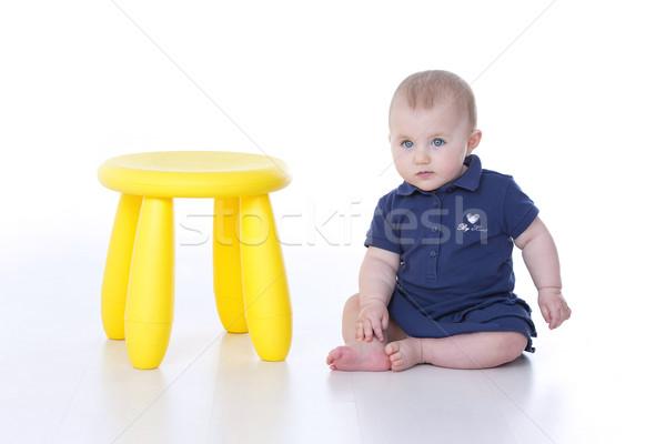 Bebek oturma bekleme anne kız yüz Stok fotoğraf © Dave_pot