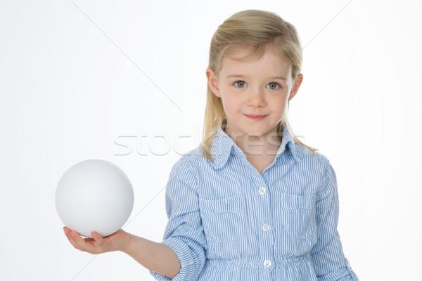 Uśmiechnięty dziecko biały piłka dziewczynka doskonały Zdjęcia stock © Dave_pot