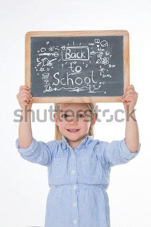 Portret piękna uczennica nice dziecko matematyki Zdjęcia stock © Dave_pot