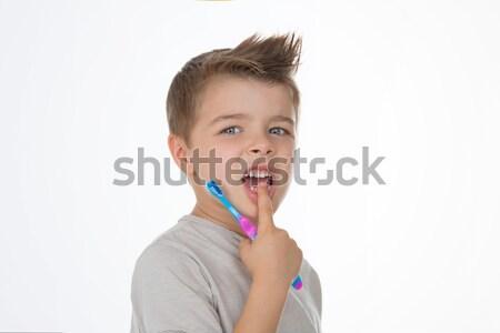 Mały dziecko szczoteczka chłopca strony zdrowia Zdjęcia stock © Dave_pot