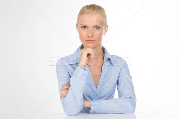 Сток-фото: серьезный · секретарь · женщину · изолированный · довольно · Lady