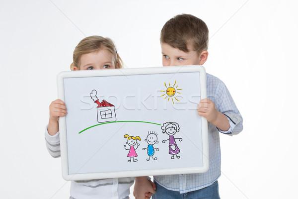 Kobiet mężczyzna dzieci ukrywanie twarz dwa Zdjęcia stock © Dave_pot