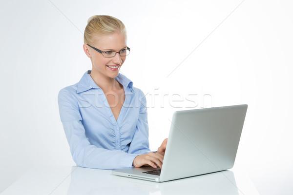 Сток-фото: профиль · женщины · изолированный · красивая · девушка · роль · секретарь