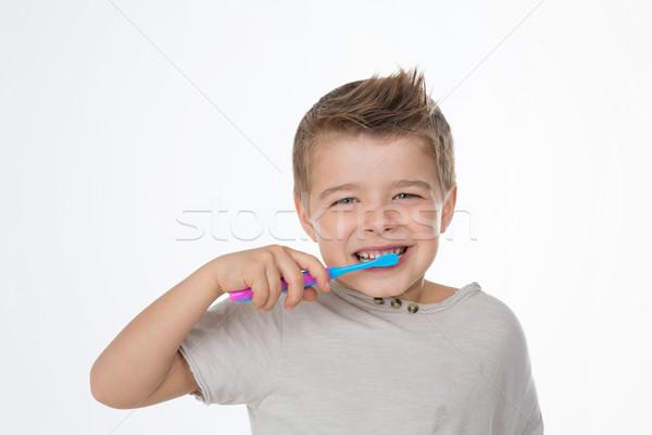 Oraal zorg voorbeeld grappig kid Blauw Stockfoto © Dave_pot