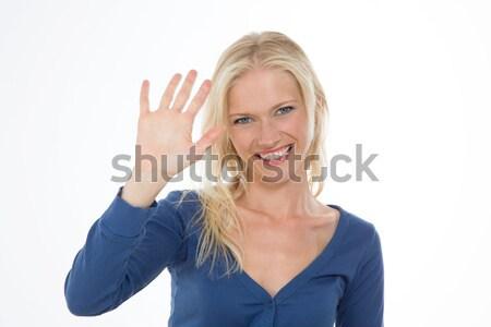 Vermek bana beş gülen güzel kız Stok fotoğraf © Dave_pot