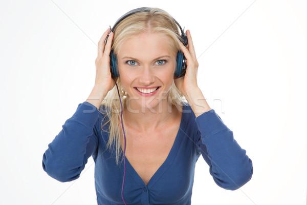 Uśmiechnięta kobieta dość dziewczyna słuchania Zdjęcia stock © Dave_pot