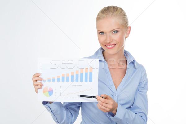 деловой женщины графических диаграммы красивая девушка Сток-фото © Dave_pot