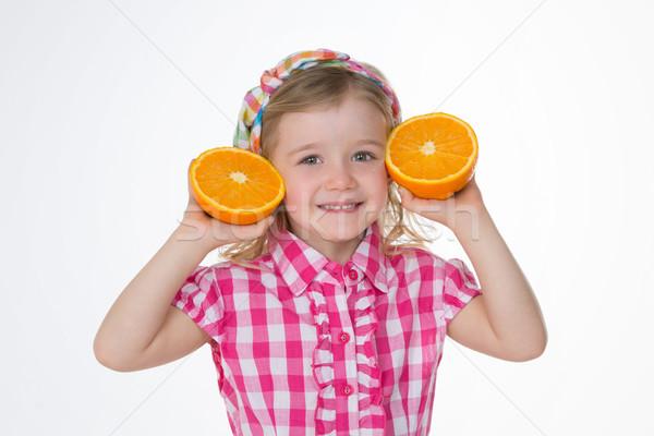 Dziewczyna lata owoce szczęśliwy dziecko dwa Zdjęcia stock © Dave_pot