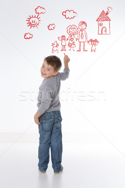 Stock photo: child represents his own family