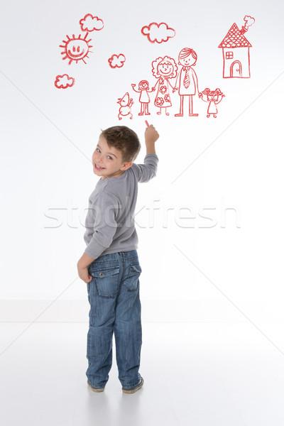 Kind eigen familie begaafd kid huis Stockfoto © Dave_pot