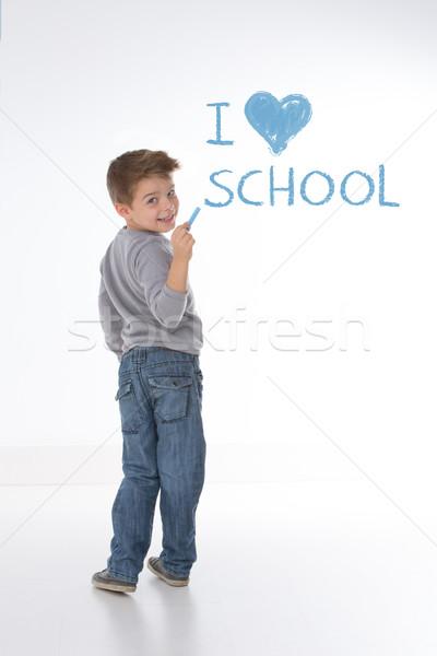 ストックフォト: スマート · 子供 · 見える · 戻る · 子 · 学校