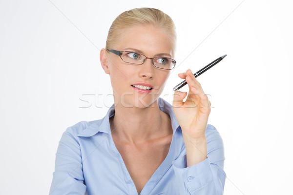 Kız kadın makas kalem Stok fotoğraf © Dave_pot