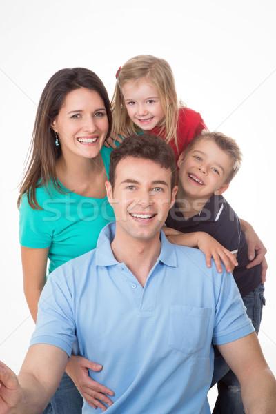 1a412012c Família · branco · bom · grupo · risonho · posando - foto stock ...