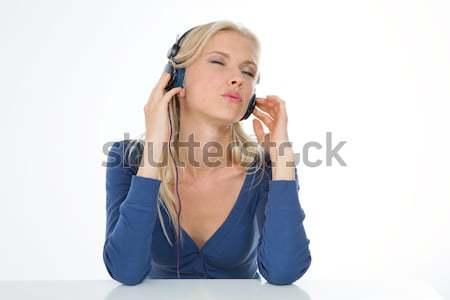 Dziewczyna ekspresyjny kobieta słuchanie muzyki Zdjęcia stock © Dave_pot