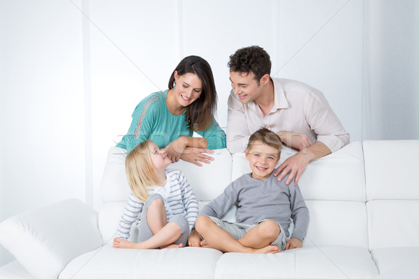 cheerful family in living room Stock photo © Dave_pot