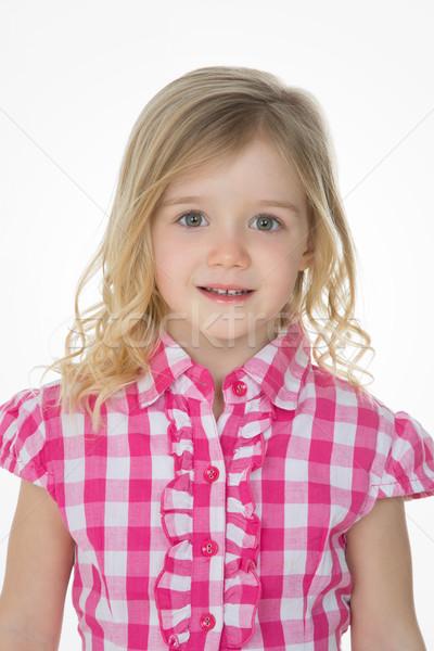 Güzel kız beyaz mutlu çocuk Stok fotoğraf © Dave_pot
