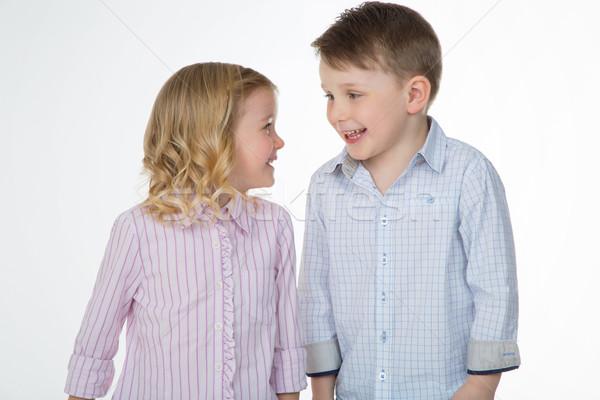 Wesoły dzieci biały młodych brat Zdjęcia stock © Dave_pot