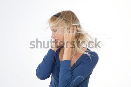 Profil dziewczyna odizolowany funny słuchania muzyka rockowa Zdjęcia stock © Dave_pot