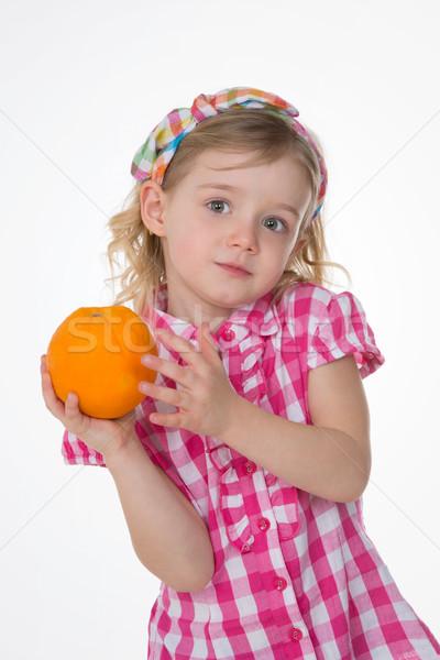 Сток-фото: Nice · девочку · фрукты · довольно · ребенка · стороны